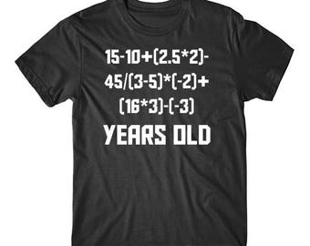16 Years Old Algebra Equation Funny 16th Birthday Math Shirt