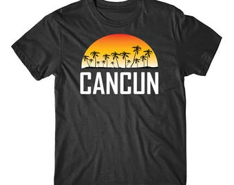 Cancun Mexico Sunset And Palm Trees Beach Vacation T-Shirt