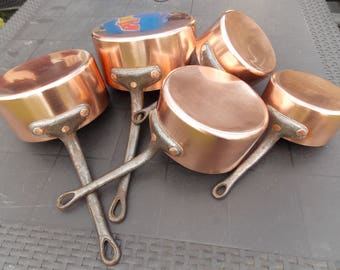RESERVED for Susan Simpson Vintage French Copper pots / pans for farmhouse / country Kitchen Set of 5 pans
