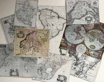 Antique Map Prints, mini map images, paper ephemera pack for scrapbooking, collage, journaling
