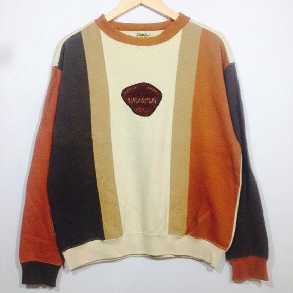 Rare! Vintager INTERMEZZO Multicolour Big Logo Crew Neck Pullover Sweatshirt Cream Colour Medium Size