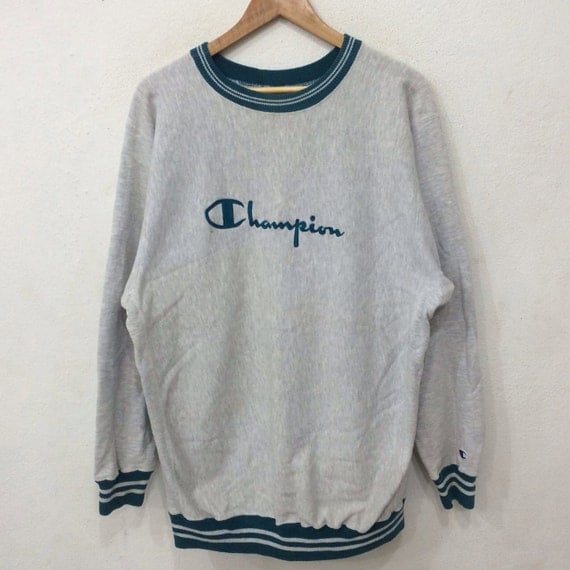 Vintage 80's CHAMPION Reverse Weave  Spellout Embroidery Crew Neck Pullover Sweatshirt XX Large Size