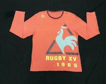 Sale! Vintage Le Coq Sportif Champion De France Rugby XV tshirt long sleeve Big Logo