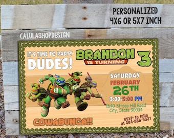Ninja Turtles Invitation, Ninja Turtle Birthday, Ninja Turtle Party, Ninja Turtle Card, Ninja Turtle Printable, TMNT, TNMT Invitation