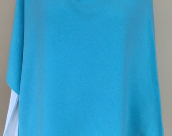 Cashmere Poncho in Tiffany Blue