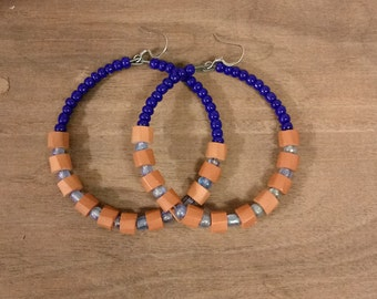 Blue and Brown Beaded Hoops