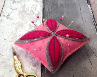 Felt flower pincushion with glass head beads, gift for sewing.