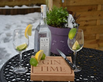 Gin 'Time' & Tonic Board - solid oak