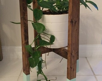 Solid wood decorative plant stand, rustic plant stand, mid century plant stand, paint dipped wood plant stand