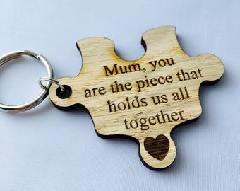 Personalised mum keyring, mummy keychain, jigsaw piece, you are the piece that holds us all together, Mother's Day gift, gift for mum,