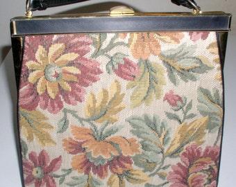 Purse, Vintage Handbag, Collectible Verdi Handbag, Purse, Great Condition Floral Pattern