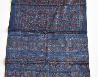 Handmade Cotton Scarf / Hand Block Printed with natural Blue, Red, Black color fashion scarf/gift