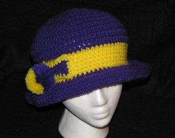 Crochet Hat Purple and Yellow