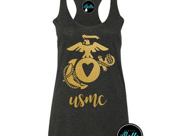USMC Gold,Gold Glitter,Marine,Marines,marine wife,marine girlfriend,semper,semper fi,ega,ega clothes,marine clothing,marine wife tank,tanks