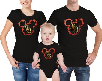 Disney Mickey mouse inspired  family monogrammed matching T-shirts and baby grow set.