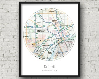 Detroit Wall Art Detroit Engagement Gifts for Couple Anniversary Gift for Him - Photographed Road Atlas Artwork with a Unique Design
