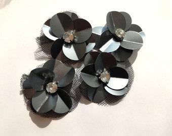 5 black rhinestone flower sewing Central applications