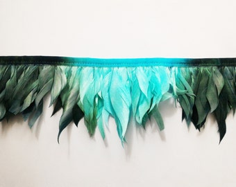Goose-feather Ribbon teal and dark green