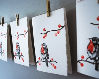 Block Printed Robin on Branch Cards // Blank with Envelope
