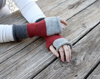 "Once Upon a Time inspired, Mad-mitter knit fingerless gloves, color block fingerless gloves, alpaca/wool blend, colorway - ""Camelot"""