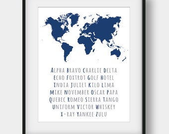 50% OFF Phonetic Alphabet World Map Print, Aviation Art, NATO Phonetic Alphabet Print, World Map Decor, Aviation Poster, Navy Wall Decor