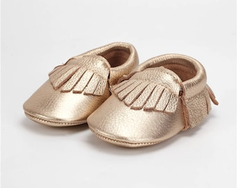 Madison Leather Moccasin in Gold and White