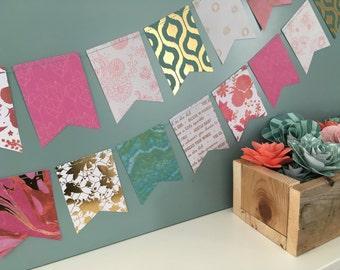 Paper Banner, Paper Bunting, Flag Banner, Flag Bunting, Flower Banner, Flower Bunting, Photo Prop, Pink Banner, Aqua Banner, Gold Banner