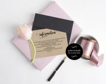 Wedding information card template - Wedding Information Cards  - Wedding Details -  Wedding Kraft  - Downloadable wedding #WDH0146