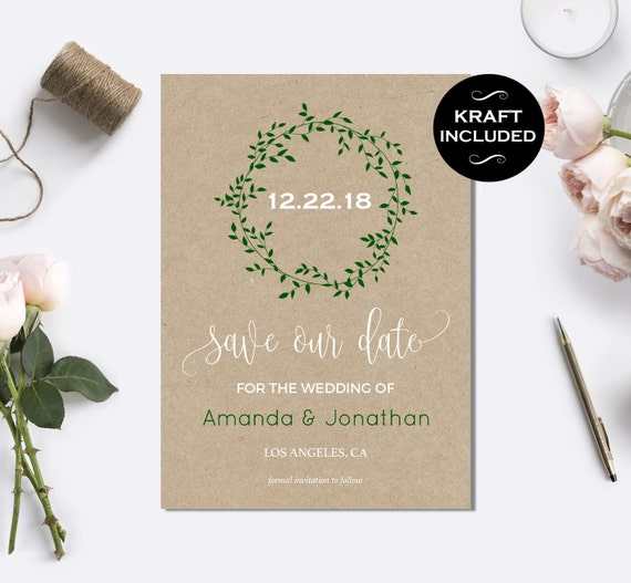 Save the Date Template - Fall Wedding - Kraft Save the Date Card - Wedding announcement - Downloadable wedding #WDH0108
