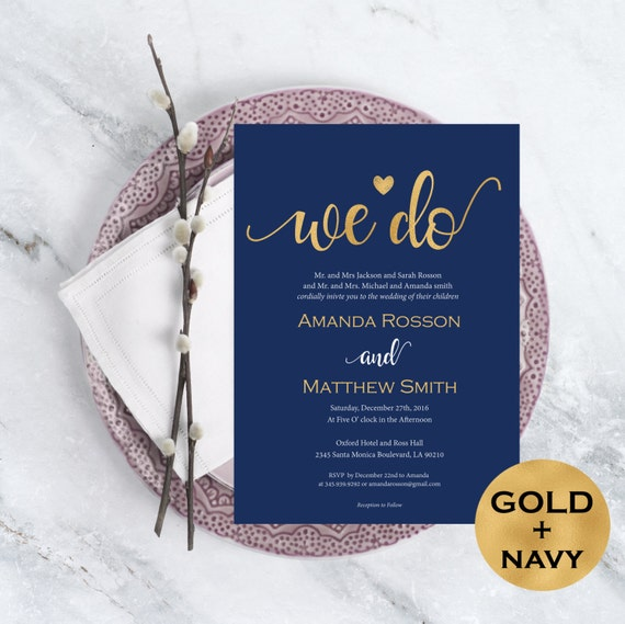 Navy Blue And Gold Wedding Invitations: Wedding Invitation Template Navy Blue And Gold Wedding