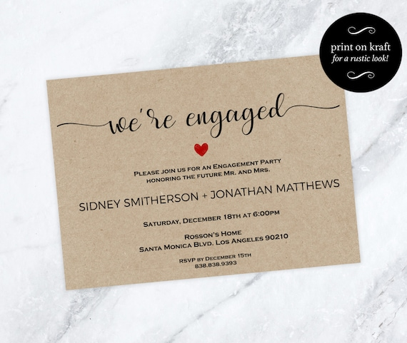 Printable Engagement Invitation - Editable Template - We're engaged - Kraft Invitation - Print on kraft - Downloadable Wedding #WDH0202