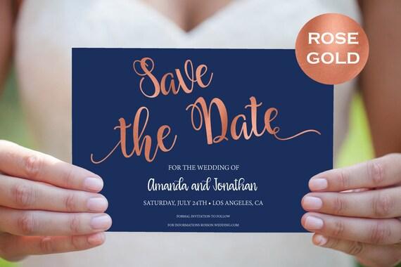 Rose Gold Wedding Template - Editable Save the date - Navy Blue Rose Gold Wedding - Template Downloadable wedding  #WDH812102
