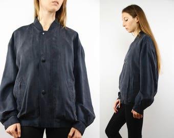 Bomber Jacket Silk / Silk Jacket Black / Balloon Jacket Silk / Bomber Jacket / Silk Baseball Jacket / Vintage Silk Jacket / Balloon Jacket
