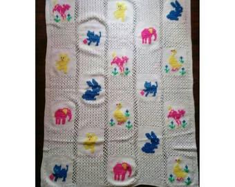 Vintage Crochet Baby Blanket-Nursery-Colorful Animals