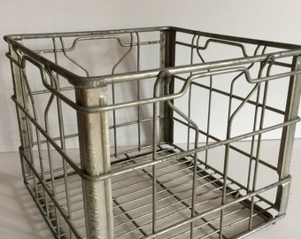 Vintage Milk Crate, Metal Milk Crate, Galvanized Porch Milk Crate, Milk Bottle Carrier, Vintage Milk Bottle Holder, Glass Milk Bottle Crate
