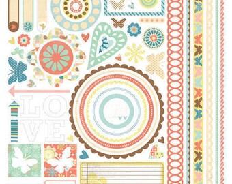 Scrapbook Stickers, Basic Grey, Hopscotch, Cardstock Stickers, Element Stickers, Border Stickers, Butterfly Stickers, Circle Stickers