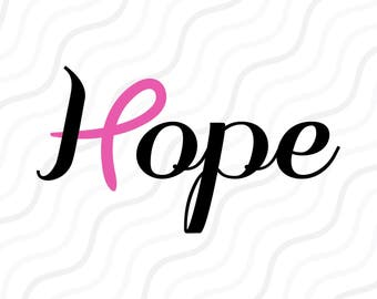 Hope With Pink Ribbon SVG, Cancer Ribbon, Cancer SVG Cut table Design,svg,dxf,png Use With Silhouette Studio & Cricut_Instant Download