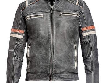 Men Vintage Biker Retro Motorcycle Cafe Racer Moto Distressed Leather Jacket