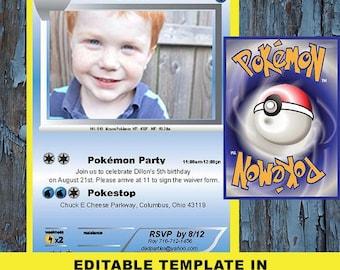 Pokemon birthday, Pokemon, Birthday Invitation, Pokemon card, Pokemon invite, Pokemon Party, Pokemon invitations, Pokemon birthday card,