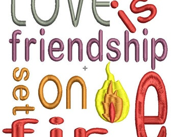 love is friendship embroidery design 5x5, LOVE IS FRIENDSHIP set on fire, baby embroidery design, machine embroidery pattern,paadar club