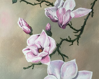 Japanese Magnolia Blooms, Floral, acrylic on stretched canvas, country style