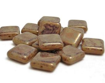 Czech Picasso Beads - Czech Glass Beads - Square Beads - 10mm Square - Czech Square - Czech Beads - Flat Square - 15pcs (5816)