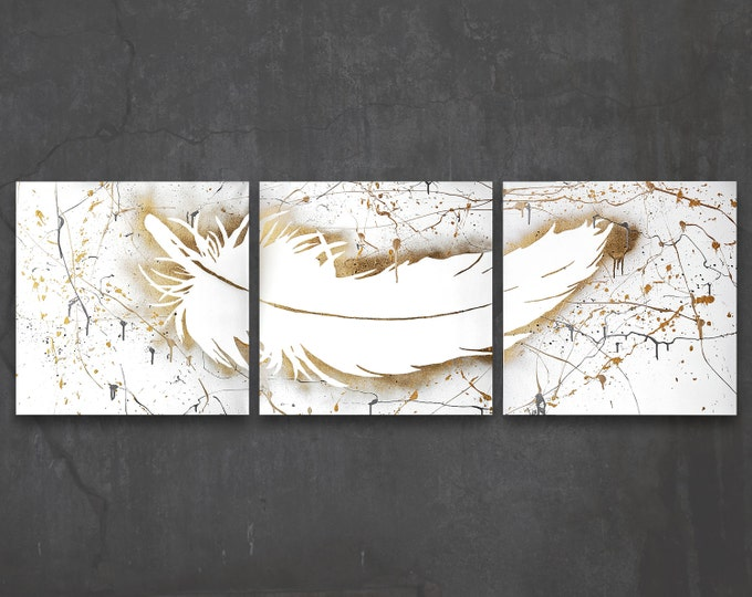 feather // custom original painting // modern triptych // nature art // gold silhouette spray paint // feather wall art // whimsical