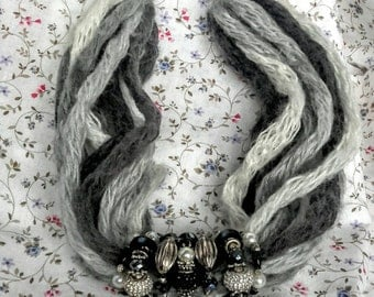 Grey wool necklace