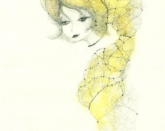 ORIGINAL drawing (Mademoiselle), watercolor and pen