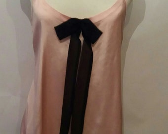 Pink Satin Nightwear/ sleepwear with black chiffon frills to hem size 8-10