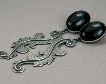 Long Sterling Silver earrings with black agate