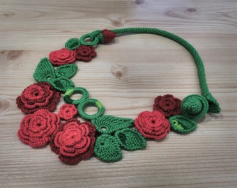 Crochet necklace elegant jewerly red necklace flower necklace floral necklace rose necklace gift for her knit necklace