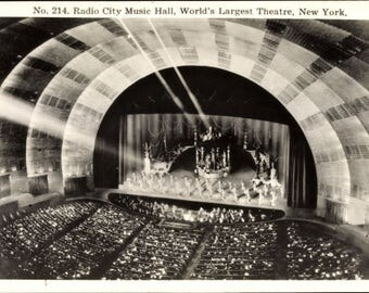 MINT Radio City Music Hall, New York City, RPPC No. 214; World's Largest Theatre; Real Photo Postcard c. 1930