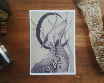 Crescent / 5 x 7 matte fine art print / Creepy / Creature / Dark art / Monster / Surreal / Graphite on Bristol